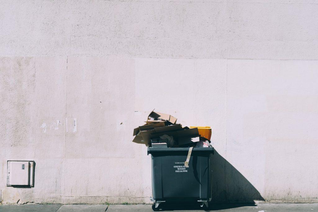 Paper in bin